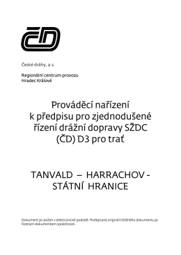 PND 3 pro trať Tanvald-Harrachov st.hr. ve znění změny