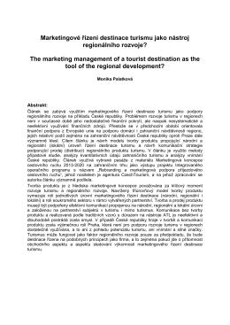 Marketingové řízení destinace turismu jako nástroj regionálního
