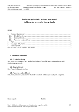 Směrnice upřesňující práva a povinnosti doktoranda prezenční