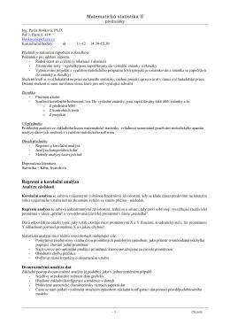 Matematická statistika II Regresní a korelační analýza