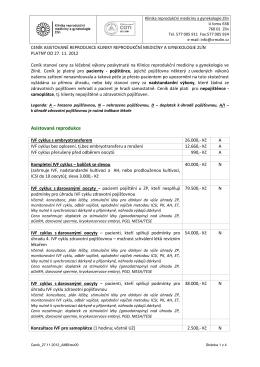 Ceník výkonů - Klinika reprodukční medicíny Zlín