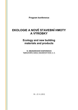 VUSTAH | Program konference Ekologie a nové stavební hmoty a