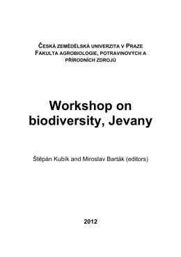 Workshop on biodiversity, Jevany - Česká zemědělská univerzita v