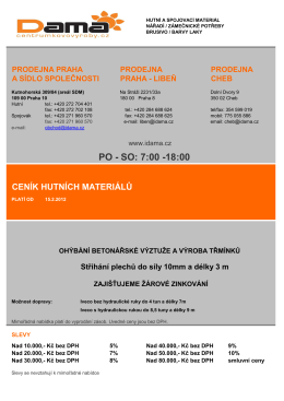 Ceník zboží - Dama sro Praha