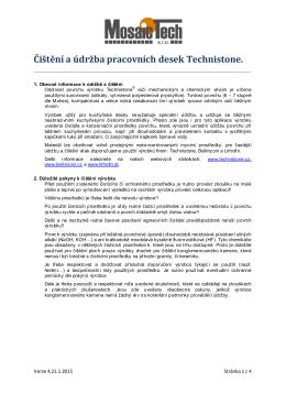 Čištění a údržba pracovních desek Technistone.