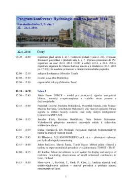Program konference Hydrologie malého povodí 2014