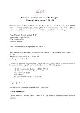 Oznámení o svolání schůze vlastníků dluhopisů Dluhopis Římská