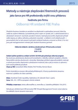 Odborná HR snídaně FBE Praha