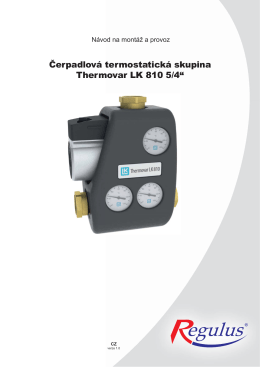 Návod na termostatickou čerpadlovou skupinu Thermovar
