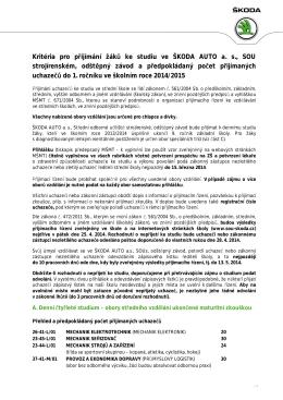 Kritéria pro přijímání žáků ke studiu ve ŠKODA AUTO a. s., SOU