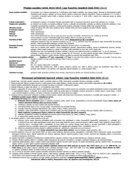 Předpis soutěže ročník 2014/2015: Liga Vysočiny mladších žáků