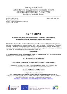 oznámení DO veřejné projednání ÚP Hranic.rtf
