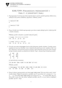 zápočtové úkoly - KMI/YPP1 Paradigmata programování 1