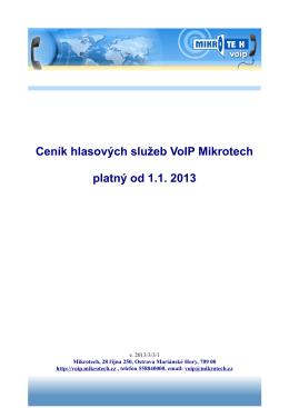 Ceník hlasových služeb VoIP Mikrotech platný od 1.1. 2013