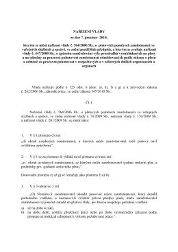 NAŘÍZENÍ VLÁDY ze dne 7. prosince 2010, kterým se mění nařízení