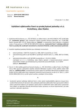 AB insolvence v.o.s. Vyhlášení výběrového řízení na prodej bytové