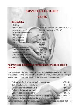 Ceník kosmetiky a masáží (pdf, 156 kB)
