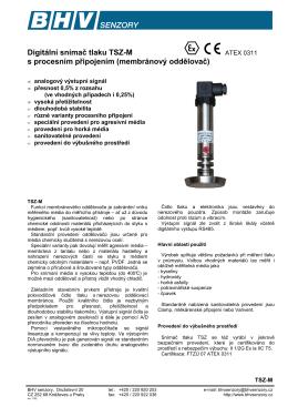 TSZ-M snímač tlaku s membránovým oddělovačem