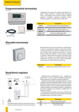 Bezdrátová regulace Programovatelné termostaty Manuální