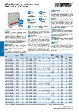 Větrací jednotky s rekuperací tepla RMR TOP – D/DI/DC/DX