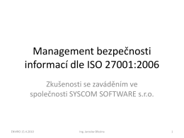 Management bezpečnosti informací dle ISO