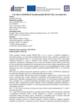 CZ.1.06/3.1.02/08.08125 Sociální podnik BENECYKL investiční část
