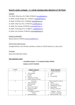 Rozvrh výuky urologie – 4. ročník všeobecného