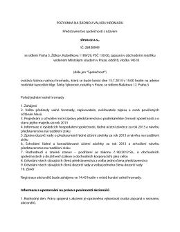 POZVÁNKA NA ŘÁDNOU VALNOU HROMADU sleva.cz a.s