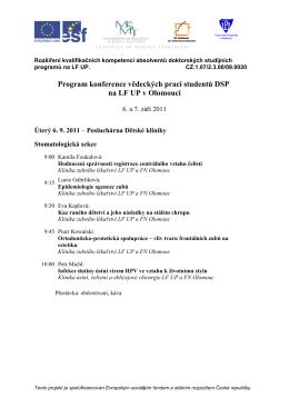 Program konference DSP 2011 - Rozšíření kvalifikačních