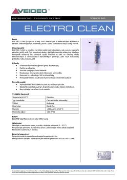TECH INFO - ELECTRO CLEAN