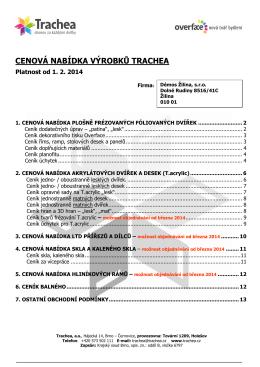 Trachea Ceník - Ceník pro zákazníky 2014