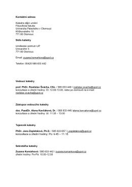 konzultace a úřední hodiny: Po: 9.45 – 11.15