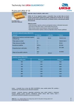 Technický list URSA SF 35