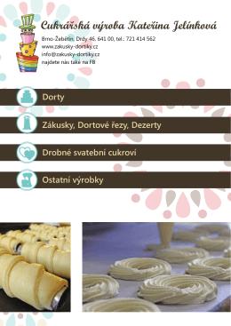 Dorty Zákusky, Dortové řezy, Dezerty Drobné svatební cukroví
