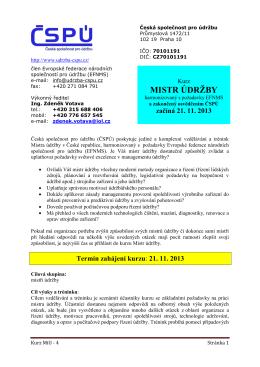 Kurs Mistr údržby 3 - Česká společnost pro údržbu
