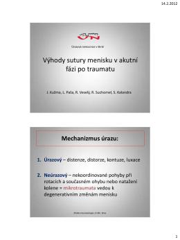 Výhody sutury menisku v akutní fázi po traumatu (PDF - 0,85