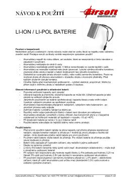 Návod k použití Li-Pol a Li-Ion baterií - Airsoft