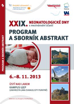 program a sborník abstrakt - Česká Neonatologická Společnost