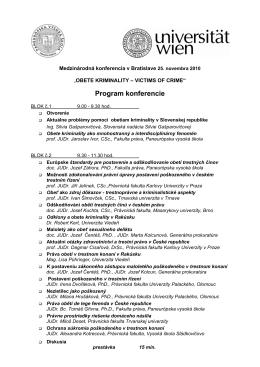 Program konferencie - Paneurópska vysoká škola