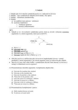 5. Subjekt 1. Subjekt jako levovalenční syntaktická pozice (vs