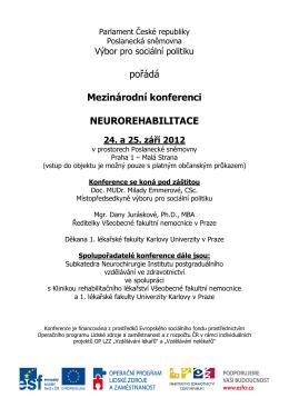 Podrobný program Mezinárodní konference Neurorehabilitace.