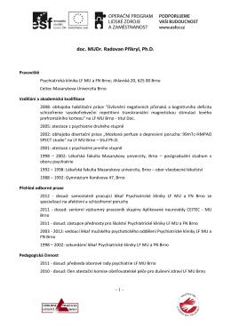 doc. MUDr. Radovan Přikryl, Ph.D.