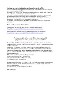 Petice proti trasám A a B1 plánovaného obchvatu města
