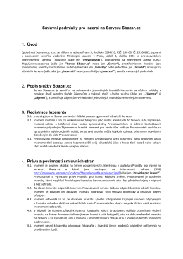 Smluvní podmínky pro inzerci na Serveru Sbazar.cz 1. Úvod 2