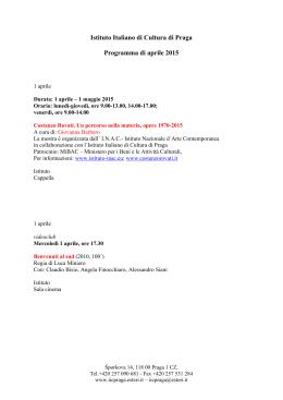 Istituto Italiano di Cultura di Praga Programma di marzo 2015