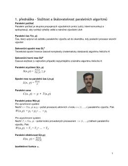 1. přednáška - Složitost a škálovatelnost paralelních