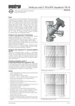 "Ventily pro vodu F, FR a KFR ""Aquastrom"" PN 16"