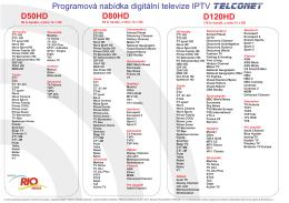 Programová nabídka digitální televize IPTV D50HD