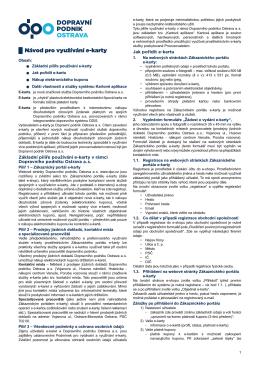 Návod pro využívání e-karty - Zákaznický portál ODISky