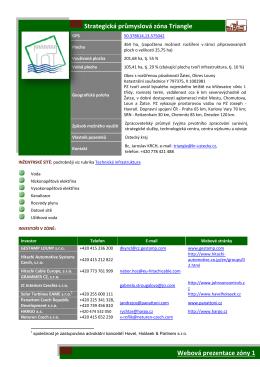 Webová prezentace zóny 1 Strategická průmyslová zóna